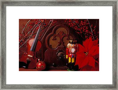 Old Raido And Christmas Nutcracker Framed Print