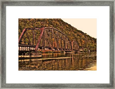 Framed Print featuring the photograph Old Railroad Bridge With Sepia Tones by Jonny D