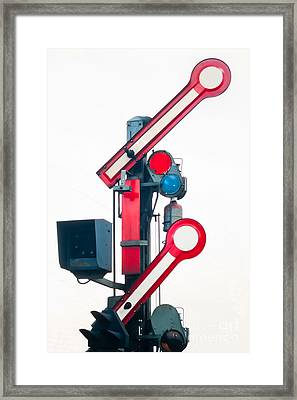 Old Railway Semaphore Isolated On White Framed Print