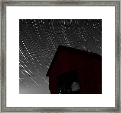 Old Red Barn And Stars Framed Print by Dan Sproul