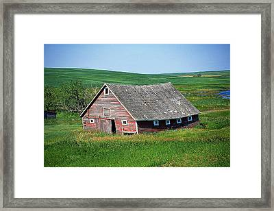 Old Red Barn Framed Print by Buddy Mays