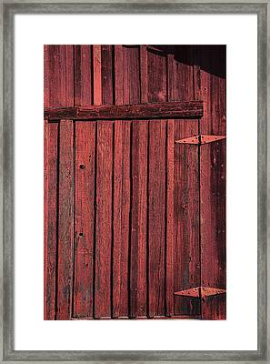 Old Red Barn Door Framed Print by Garry Gay