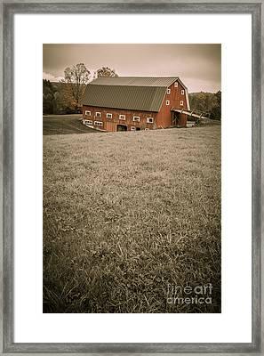 Old Red Barn Framed Print by Edward Fielding
