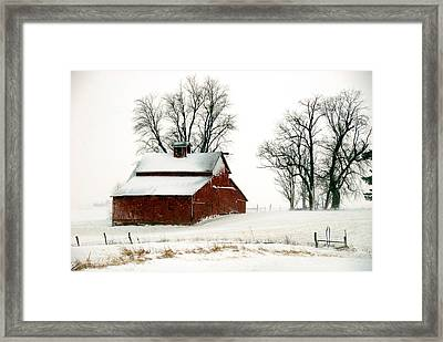 Old Red Barn In An Illinois Snow Storm Framed Print
