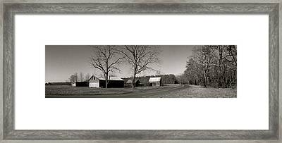 Old Red Barn In Black And White Long Framed Print