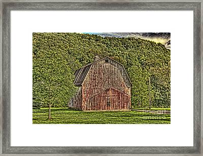 Framed Print featuring the photograph Old Red Barn by Jim Lepard