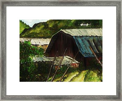 Old Red Barn Framed Print by Lil Taylor