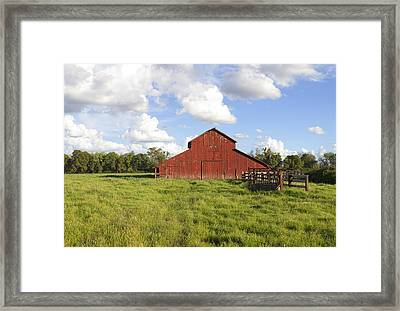 Framed Print featuring the photograph Old Red Barn by Mark Greenberg