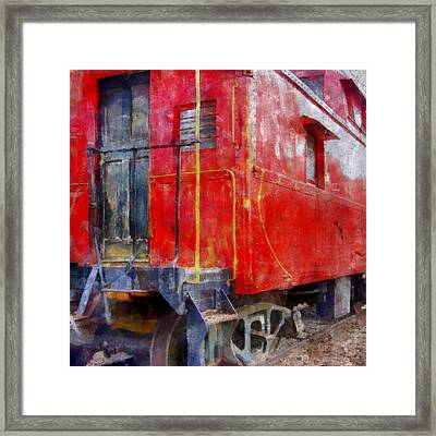 Old Red Caboose Framed Print by Michelle Calkins