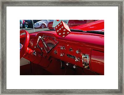 Framed Print featuring the photograph Old Red Chevy Dash by Tikvah's Hope