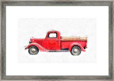 Old Red Ford Pickup Framed Print by Edward Fielding
