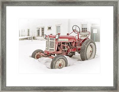 Old Red Tractor In The Snow Framed Print