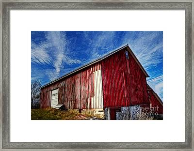 Old Red Wooden Barn Framed Print