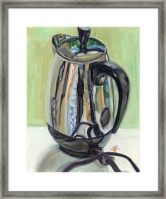 Old Reliable Stainless Steel Coffee Perker Framed Print by Jennie Traill Schaeffer