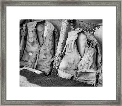 Old Rescue Vests Framed Print