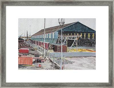 Old Resting Train And Schnitzer Steel Building Framed Print by Asha Carolyn Young