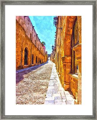 The Old Rhodes Town Framed Print