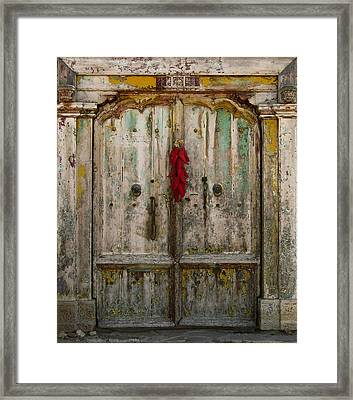 Old Ristra Door Framed Print