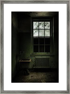 Old Room - Abandoned Asylum - The Presence Outside Framed Print by Gary Heller
