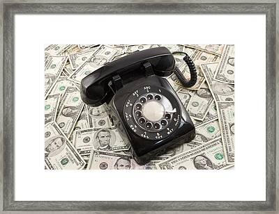 Old Rotary Phone On Money Background Framed Print by Keith Webber Jr