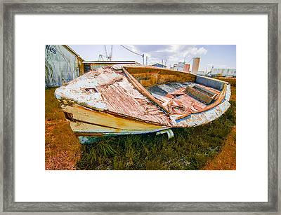 Old Rotten Abandoned Row Boat On Land Framed Print