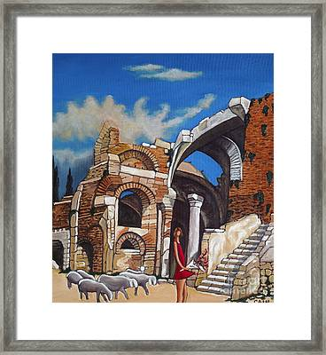 Old Ruins Flower Girl And Sheep Framed Print