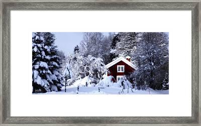 Old Rural Winter Landscape Scenery Framed Print