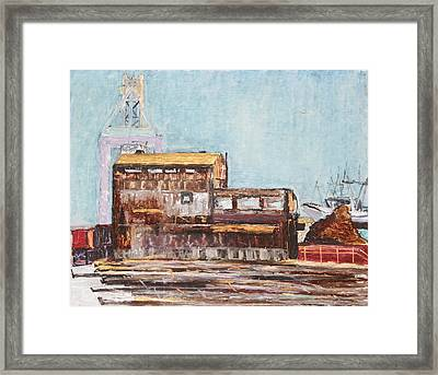Old Rustic Schnitzer Steel Building With Crane And Ship Framed Print by Asha Carolyn Young