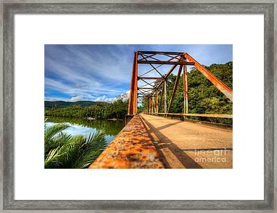 Old Rusty Bridge In Countryside Framed Print