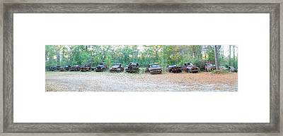 Old Rusty Cars And Trucks In A Field Framed Print