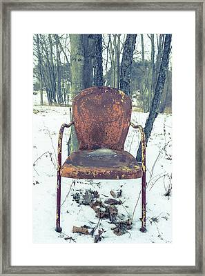 Old Rusty Chair In The Woods Framed Print by Edward Fielding