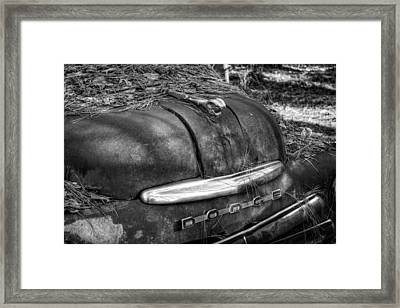 Old Rusty Dodge In Black And White Framed Print by Greg Mimbs
