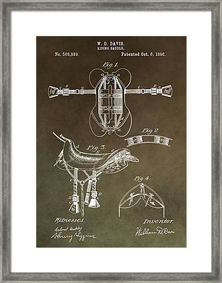 Old Saddle Patent Framed Print by Dan Sproul