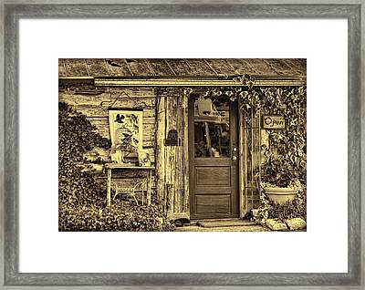 Old Salado Log Cabin Shop Sepia Framed Print by Linda Phelps