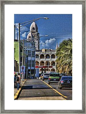 Old San Juan Cityscape Framed Print by Daniel Sheldon