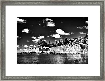Old San Juan In Black And White Framed Print by John Rizzuto