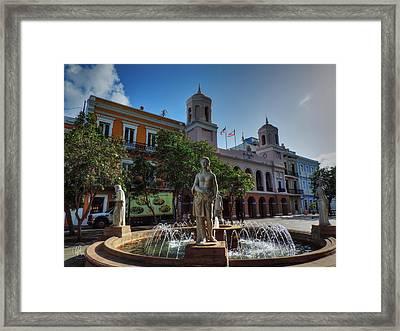 Old San Juan - Plaza De Armas  Framed Print by Lance Vaughn