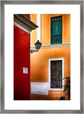 Old San Juan Street Corner Charm Framed Print by George Oze
