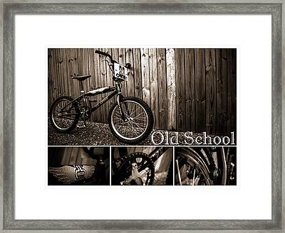 Old School Bmx - Pk Collage Bw Framed Print by Jamian Stayt
