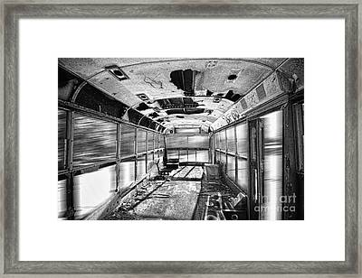 Old School Bus In Motion Bw Hdr Framed Print by James BO  Insogna