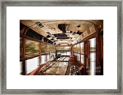 Old School Bus In Motion Hdr Framed Print by James BO  Insogna