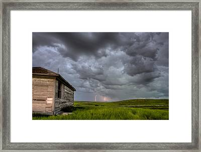 Old School House And Lightning Framed Print by Mark Duffy