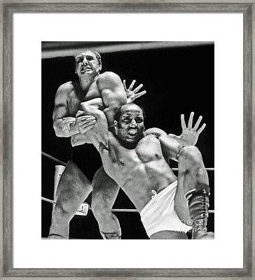 Framed Print featuring the pyrography Old School Wrestling Arm Lock By Tony Rocco On Sir Earl Maynard by Jim Fitzpatrick