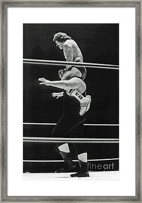 Framed Print featuring the photograph Old School Wrestling Piggyback Ride II With Mando Guerrero  by Jim Fitzpatrick