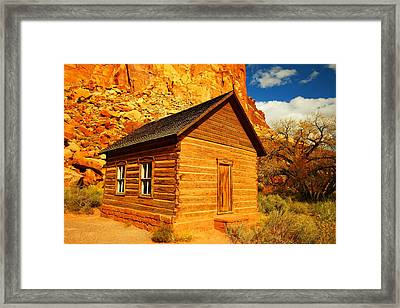 Old Schoolhouse Near Capital Reef Utah Framed Print by Jeff Swan
