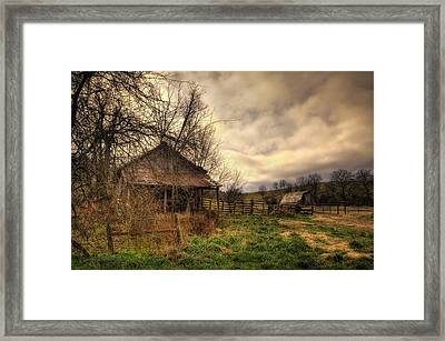 Old Shed And Barn At Osage Framed Print
