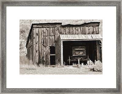 Old Shed And Wagon With Toninig Framed Print by Kae Cheatham
