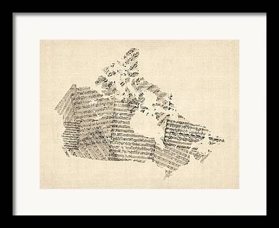 Map Of Canada Framed Prints