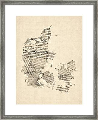 Old Sheet Music Map Of Denmark Framed Print by Michael Tompsett