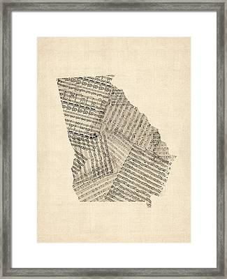 Old Sheet Music Map Of Georgia Framed Print by Michael Tompsett
